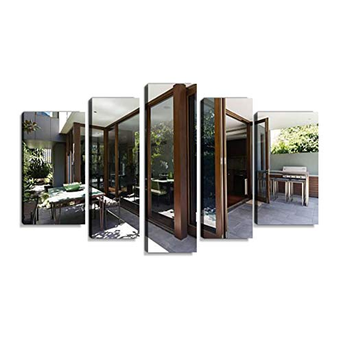 Bi fold Doors Opening to Rear Courtyard of Contemporary homeCanvas Wall Art Modern Home Decoration Digital Printing Exclusive Photography Picture with Wooden Frame Ready to Hang 5 Panel