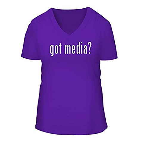 got media? - A Nice Women's Short Sleeve V-Neck T-Shirt Shirt, Purple, X-Large (Roku Purple)