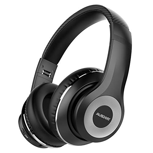 AUSDOM ANC10 Wireless Active Noise Cancelling Headphones, Bluetooth 5.0 Headphones Over Ear with Mic, Soft Adjustable Earpads, Hi-Fi Deep Bass Foldable Headset for Travel Work TV PC Mobile Airplane