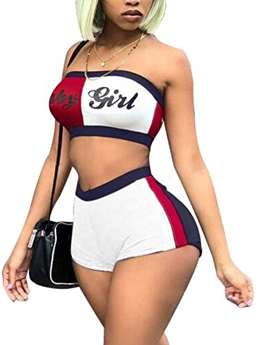 (Women Workout Shorts Set Contrast Stripe Bandeau Tube Top Set 2 Piece Rompers Outfit L)