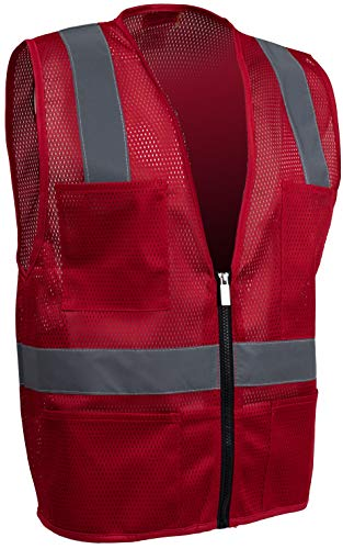 (Safety Depot Mesh Reflective Safety Vest With Zipper and Pockets Hi Vis, Light Weight MSD1000 (Red, 4XL))