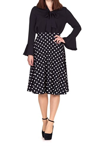 Dani's Choice Retro Feminine A line Full Flared Swing Skater Midi Skirt (S, Black) (27 Inch Skirt)