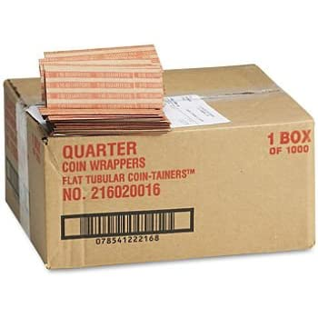 Self Closing Plastic Quarter Coin Wrappers Packed 500
