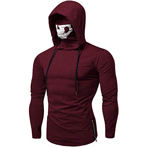 (Mens Hoodie,Realdo Mens Skull Mask Pullover Casual Solid Zip Long Sleeve Hooded Sweatshirt Tops)