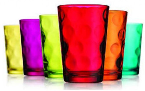 Attractive Set of Six (6) Unique Colored Highball Drinking Glasses 7-oz ~ Party Glassware Set (Colored Glasses Drinking compare prices)