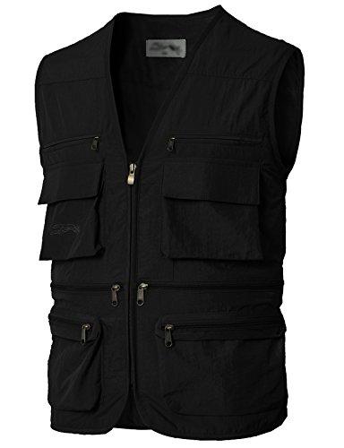 Vest Sport Hooded (H2H Men's Multiple Pockets Hooded Mesh Traveling Fishing Vest Black US M/Asia L (KMOV0170))