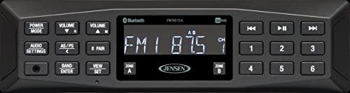 JENSEN JWM10A AM/FM   AUX   Bluetooth   APP対応ウォールマウントステレオ 1チャンネルあたり4チャンネル 6W プログラム可能なステーション30プリセット (18FM/12AM) デバイスからBluetoothオーディオ(A2DP) とコントロール (AVRCP) を受信
