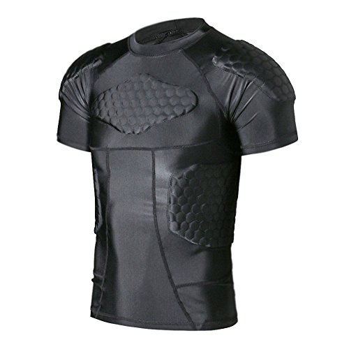 (TUOY Men's Padded Compression Shirt Protective T Shirt Rib Chest Protector for Football Paintball)