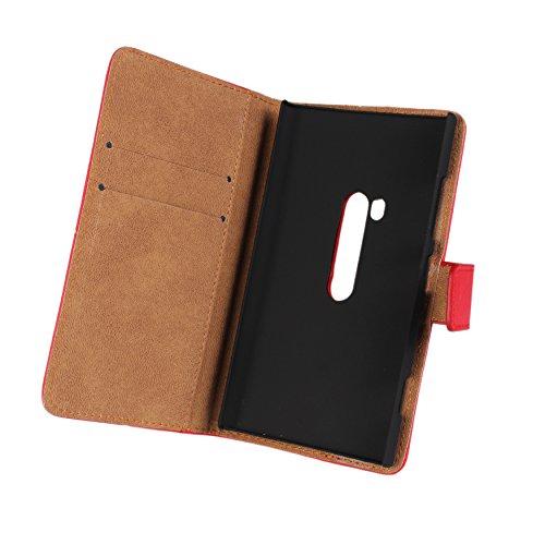 Lumia 920 Case, iCoverCase Genuine Leather Magnetic Flip [Card Slot] Wallet Cover Kickstand Case for Nokia Lumia 920 (Yellow) Photo #2