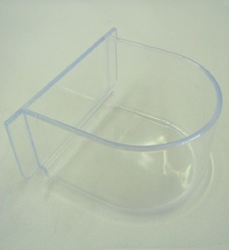 Lot of 4 Bird Cage Clear Plastic Seed Water Feeder Cups