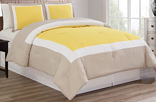 Grand Linen 3-Piece Yellow/Light Grey/White Color Block Duvet Cover Set, Queen Size Includes 1 Cover and 2 Shams - Brushed Microfiber - Luxury, Ultra Soft and Durable