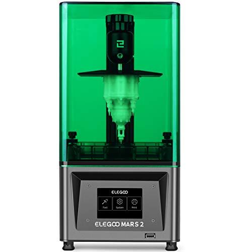 ELEGOO Mars 2 Mono MSLA Impresora 3D UV Photocurado LCD Resina Impresora 3D con LCD monocromático 2K de 6.08 pulgadas, Tamaño de impresión 129x80x150mm / 5.1x3.1x5.9inch, Cubierta verde