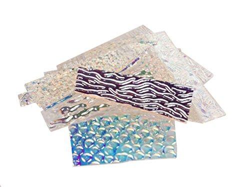 1/4 Lb Wissmach Texture Scrap On Clear - 90 Coe by DichroMagic Dichroic