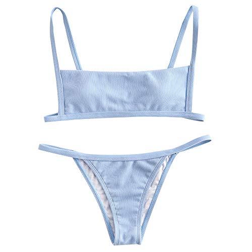 ZAFUL Women's Ribbed Square Neck Padded High Cut String Bikini Set Swimsuit (Light Blue, S)