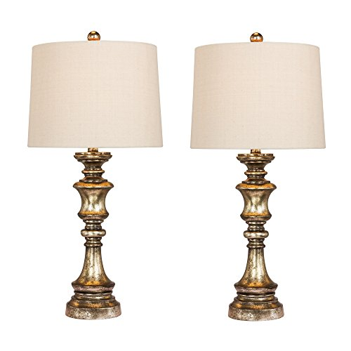 - Cory Martin W-6236GB-2PK Fangio Lighting's #6236GB-2PK Pair of 27.75 in. Candlestick Resin Table Lamps in a Gold Leaf with Brown Wash Finish 2