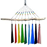 American Made Fused Glass Windchime – Rainbow Colors, 9-Chime Version