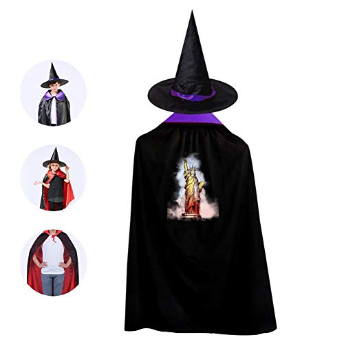 Kids Lady Liberty Halloween Costume Cloak for Children Girls Boys Cloak and Witch Wizard Hat for Boys Girls Purple -