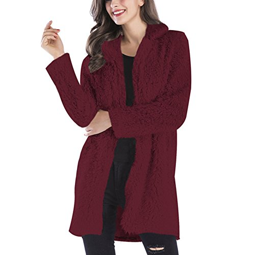 Gloria JR Womens Fuzzy Faux Lamb Fur Coat Long Jacket Notched Lapel Mid Long Coat (Medium, Wine Red)