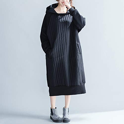 Big Gruesa stripe Vestido Ladies Grandes Invierno Otoño De Spliced Y Larga Sudadera Mujer Xmdnye Tallas l x6qYfa8w