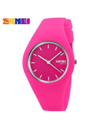 SKMEI Men's Women's Rubber Waterproof Quartz Analog Wrist Watch Rose Red