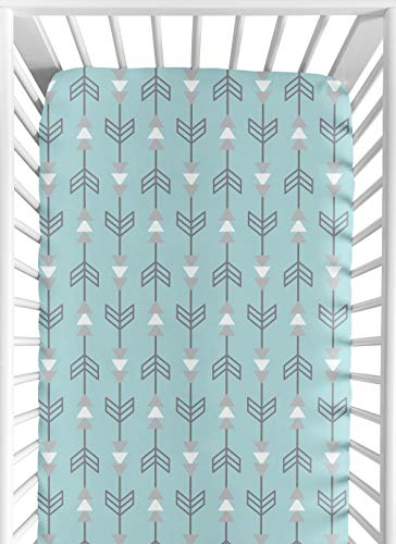 Sweet Jojo Designs Fitted Crib Sheet for Turquoise Blue and Gray Earth and Sky Baby/Toddler Bedding - Arrows Print ()