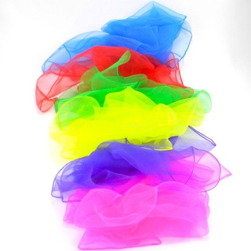 6 x Large Juggling Scarves - Light Chiffon Sensory Scarves 60cm x 60cm and Cascade Juggling Bag - Mixed Colours