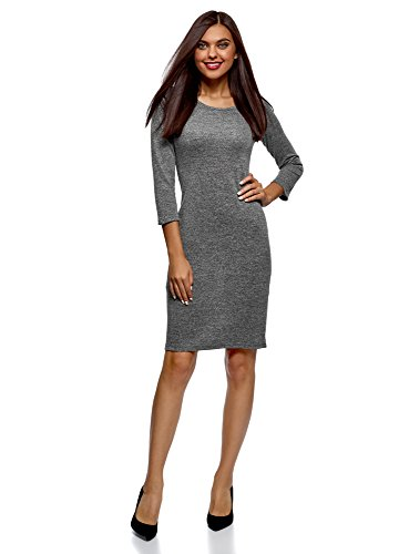 oodji Collection Women's Jersey Dress with Keyhole Back, Grey, 6