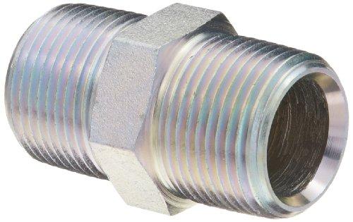 "Dixon 5404-12 Zinc Plated Steel Hydraulic Pipe Fitting, Hex Nipple, 3/4""-14 NPT Male"