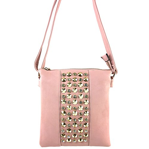 Bling Fashion Fashion Pink Luxury Rhinestones Justin Purse Pastel Bag West Cross Studded Body Messenger 05xqAwwIT