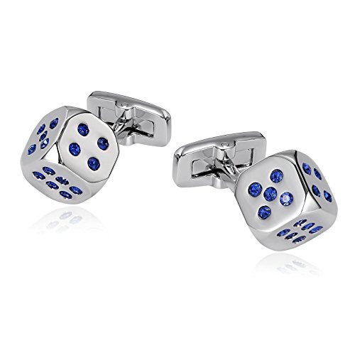 Pair Of Dice Costume (Epinki Mens Stainless Steel Lucky Dice Clear Crystal Silver Blue Cufflinks for Bussiness Wedding)
