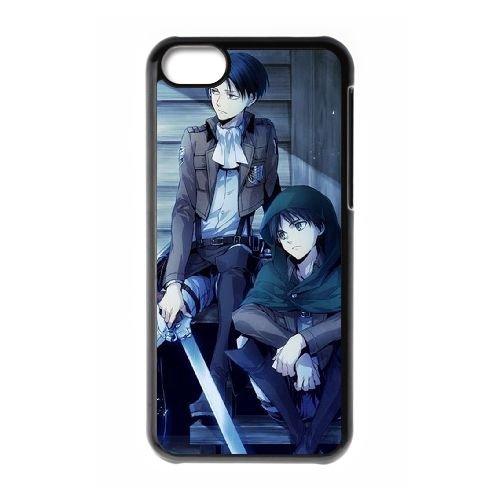 Attack On Titan coque iPhone 5C Housse téléphone Noir de couverture de cas coque EBDOBCKCO13911