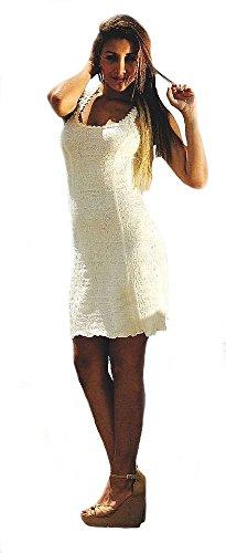 Strukturierte Damen Sommerkleid Kleid Biobaumwolle ökologische Kurzes Baumwolle Alpacaandmore Pima Weißes ärmelloses Träger SWH066Tq