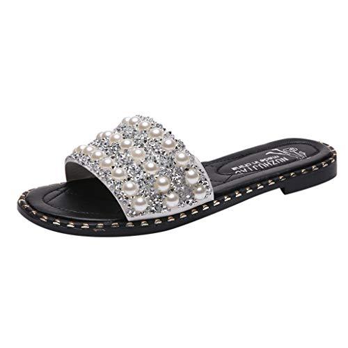 NRUTUP Summer Women Fashion Pearl Sequins Flats Non-Slip Sandals Wild Beach Shoes (White,37) -