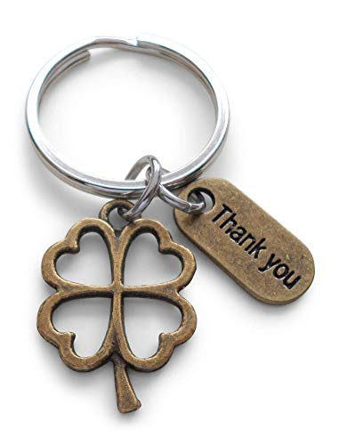 (Employee Appreciation Gift, Bronze Thank You Tag and Clover Charm Keychain, Lucky to Work with You!)