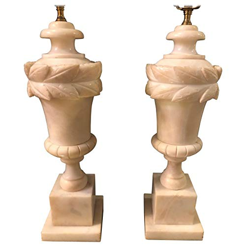 Pair of French Neoclassical Style White Alabaster Urn Shaped Table Lamps (Neoclassical Urn)