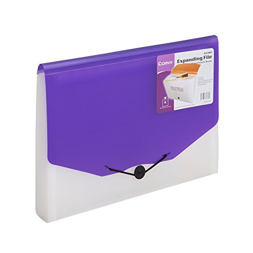 COMIX Legal/A4/ Letter size 13-Pocket Portable Expanding File Organizer Jacket - Purple (A1347PU)