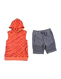 Kinderkind Boys Safari Sleeveless Hoodie & French Terry Moto Short Sets