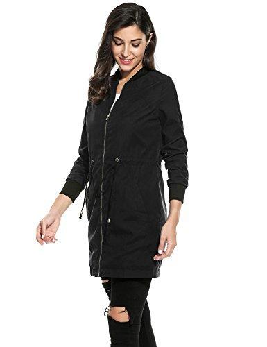 vent Femme Long Meaneor Automne Veste Cordon Noir Coupe Blouson Jacket Poche Parka 6gRqOg