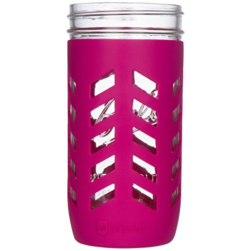 JarJackets Silicone Mason Jar Protector Sleeve - Fits Ball, Kerr 24oz (1.5 pint) Wide-Mouth Jars | Package of 1 (Sangria)