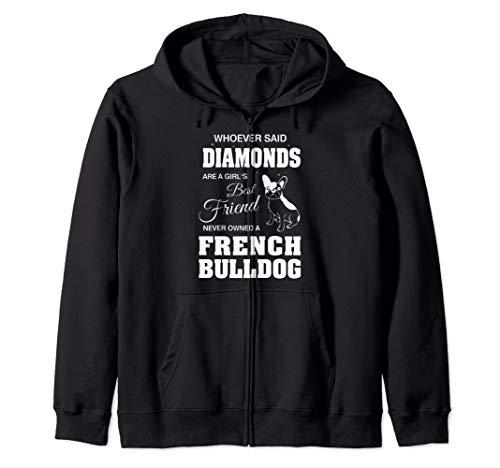 A girls French Bulldog Woman Ladies Zip Hoodie ()