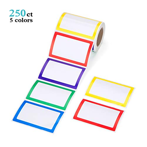 Mionno 5 Colors Adhesive Name Tag Labels, 250pc 3.5 x2.25 Plain Name Tag Stickers/Category Tags for Office, Meeting, Kindergarten, School, Teachers, Parties, Warehouses and Mailing
