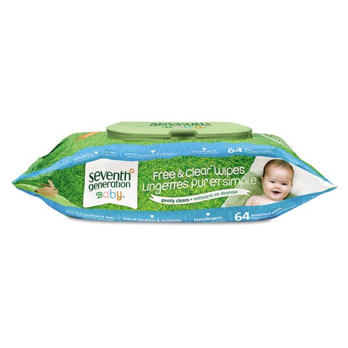 Seventh Generation 34208 Free & Clear Baby Wipes Unscented White 64/Pack