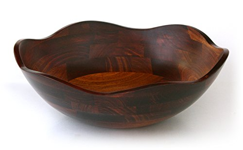 (Mountain Woods CSBRW Flower Petal Wavy Rim Wood Bowl with Cherry Finish, 15 x 15 x)