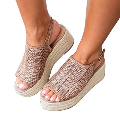 (softome Women's Espadrille Wedge Sandals Peep Toe Summer Vintage Weaving Shoes Oatmeal US 8.5)