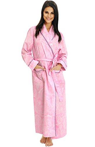 (Alexander Del Rossa Women's Lightweight Cotton Kimono Robe, Summer Bathrobe, XL Pink and White Paisley (A0515P41XL))