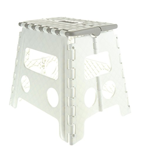 Unity 13 Non-Slip Foldable Step Stool with Carrying Handle - Supports Up to 300LBS - Easy Open - Perfect for Kitchen, Bathroom, Bedroom & More (White Grey/White Dots)