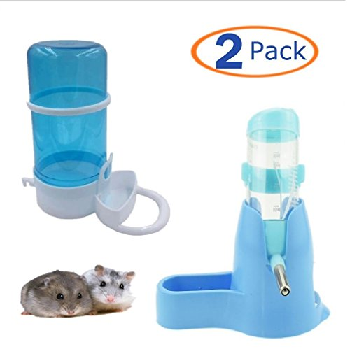 Automatic Pet Feeder,Water Drinking Bottle with Food Container Base Hut for Hamster,Hanging Water Feeding Bottles Auto Dispenser for Small Animals(Pack of 2) (80ML, - Hook Bottle Water Hamster