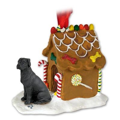 - Eyedeal Figurines GREAT DANE Dog BLACK Uncropped Ears NEW Resin GINGERBREAD HOUSE Christmas Ornament 100A