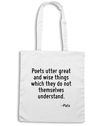 T-Shirtshock - Bolsa para la compra CIT0185 Poets utter great and wise things which they do not themselves understand. Blanco