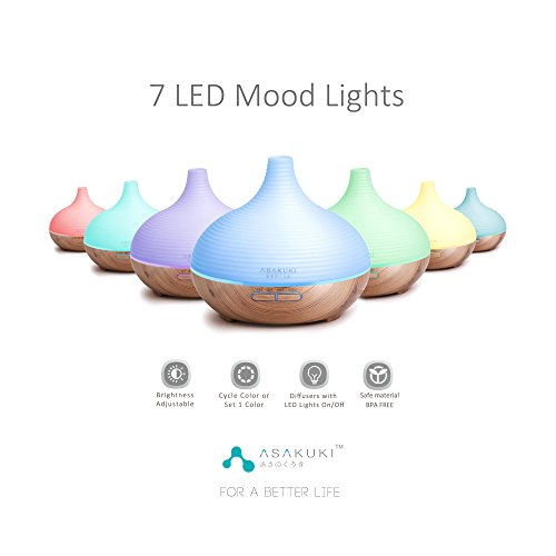 ASAKUKI 300ML Premium, Essential Oil Diffuser, Quiet 5-in-1 Humidifier, Natural Home Fragrance Diffuser with 7 LED Color Changing Light and Easy to Clean by ASAKUKI (Image #1)